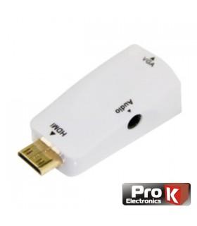 CONVERSOR MINI HDMI PARA VGA COM AUDIO - PROK - HDMIVGA04