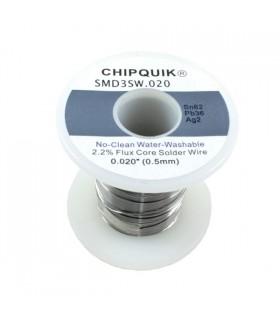Solder Wire 62/36/2 Tin/Lead/Silver no-clean .020 8OZ - SMD3SW.0208OZ