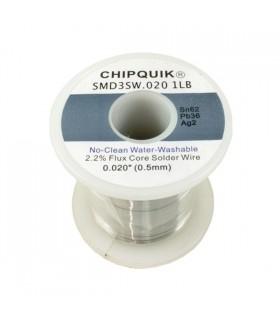 Solder Wire 62/36/2 Tin/Lead/Silver no-clean .020 1LB - SMD3SW.0201LB