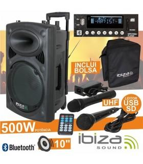 Coluna Amplificada 10pol 500W USB/BT/SD/BAT Preta - PORT10UHFBT