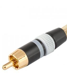 Ficha RCA Macho Branca Metalica Dourada - FPS403A
