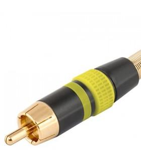 Ficha RCA Macho Amarela Metalica Dourada - FPS406A