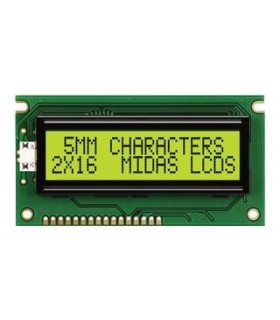 MC21605A6WD-SPTLY-V2 - Alphanumeric LCD Display, 16 x 2 - MC21605A6WD