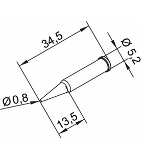 Ponta 0.8mm para ERSA I-Tool Pack 10un - 0102PDLF08L/10