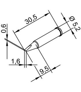 Ponta 1.6mm para ERSA I-Tool Pack 10un - 0102CDLF16/10