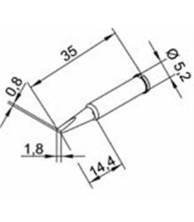 Ponta 1.8mm para ERSA I-Tool Pack 10un - 0102CDLF18L/10