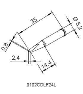 Ponta 2.4mm para ERSA I-Tool - 0102CDLF24L/SB