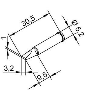 Ponta 3.2mm para ERSA I-Tool Pack 10un - 0102CDLF32/10