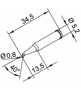 Ponta 0.8mm para ERSA I-Tool - 0102SDLF08L/SB