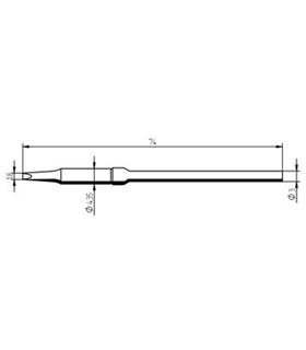 Ponta 1.8mm para ferro MICRO TOOL de estaçoes ERSA - 0212KDLF/SB
