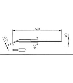 Ponta 1.6mm para ferro MICRO TOOL de estaçoes ERSA - 0212WD/SB
