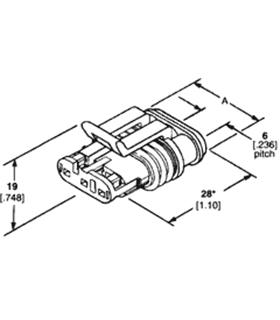 Ficha AMP 3 pinos - AMP3F