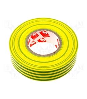 Rolo de Fita Isoladora Amarelo/Verde 0.15mmX19mmX25m - FIS25YG