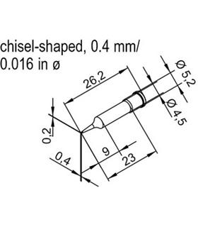 Ponta longa 0.4mm para ERSA I-Tool - 0102CDLF04L/SB