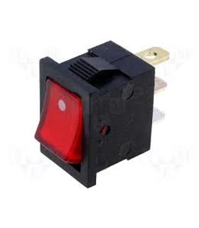 Interruptor Basculante On/Off Pequeno c/ luz Vermelha - 914BPCL