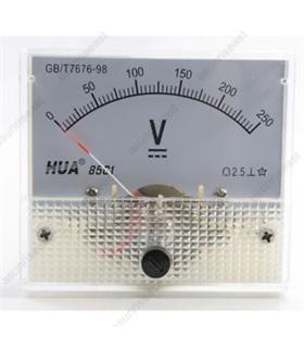 Voltimetro de Painel 250Vdc Diam-38, 44.3x44.3 - VM38V250