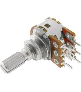 Potenciometro rotativo logaritmico stereo metálico c/ veio - 162047KD