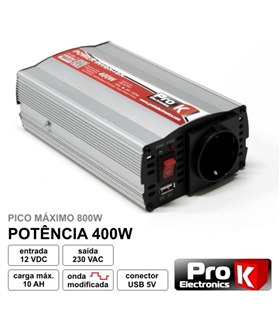 CONVERSOR 12V-230V 400W ONDA SINUSOIDAL MODIFICADA - KPI400