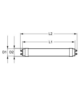 Lâmpada LED tubo T8 120cm 230VAC 18W 4000K 1800lm - MX3062405