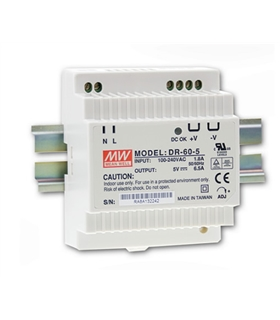 DR-60-12 - Inp. 85-264Vac Out. 12Vdc 4.5A 60W de Calha - DR6012
