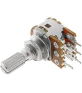 Potenciometro Duplo 50K Logaritmico veio Metalico - 162050KDM