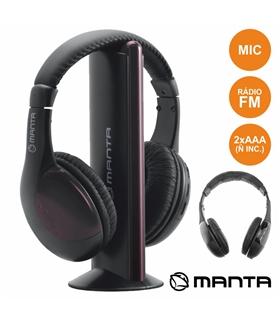 AUSCULTADORES FM S/ FIOS STEREO MIC 2XAAA C/ BASE - MM65