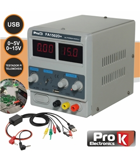 PKFA1502D+ - Fonte de Alimentaçao Digital 0-15V 0-2A - PKFA1502D+