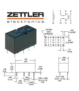 AZ822-2C-24DSE - Rele Eletromagnetico 24VDC 0.5A - AZ8222C24DSE