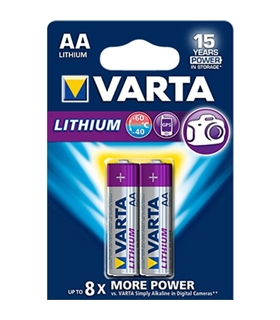 Pilha de lítio 1.5V LR6 - Lithium Varta Pack 2 - 169LR6LI2