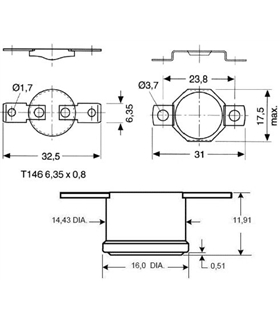 Termostato universal fixo NC 100ºC - terminais horizontais - T100F