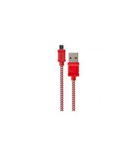 DCU34101210 - Cabo Micro / USB 1mt Vermelho Branco Algodão - DCU30401210