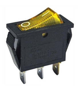 Interruptor Basculante 1 Circuito 10A 250V Amarelo Luminoso - MX5170210