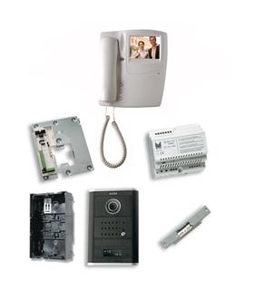 Kit de 1 pulsador simples, com sistema 2 fios, com monitor - KVS-50601