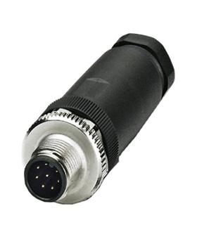 SM12CVPA8Q1D9 - Ficha Sensor M12 Macho 8 Pinos - SM12CVPA8Q1D9