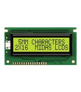 MC21605E6W-SPTLYI - Alphanumeric LCD Display, 16 x 2 - MC21605E6W