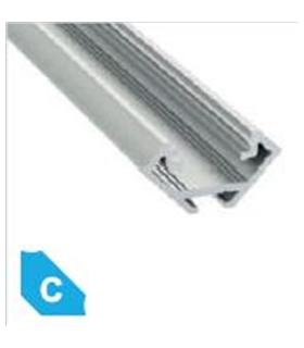 Perfil Aluminio Tipo C 2mt Cor Cru - C2MTCRU
