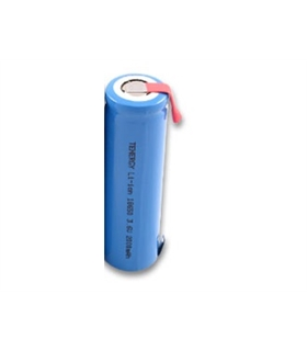 Bateria Li-Ion LIR18650 3.7V 2200mAh 18x65mm c/patilhas - 16918650CP