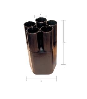 Manga Termoretrátil preta, 1 In/ 5 Out, 5/2, 8.5cm c/resina - MTR1522