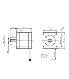 57HS762804 - Step Motor Bipolar NEMA 23 19.23Kg - 57HS762804