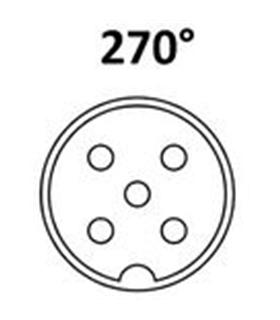 Conector DIN, Femea, 5 Pinos 270º Domino, Cabo - 69DIN5PF270