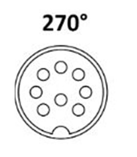 Conector DIN, Femea, 8 Pinos  270º, Painel - 69DIN8PFP