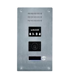 Placa aço antivandalica com 1 pulsador simples c/ camara - PTS-60201