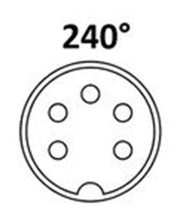 Conector DIN, Femea, 5 Pinos 180°, Painel - 69DIN5PFP