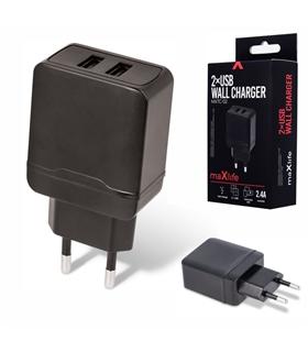 Alimentador Compacto 2 USB 5V 2.4A Preto - MXTC02