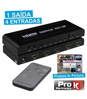 Comutador Hdmi Amplificado 4 Entradas 1 Saida - HDMI4E1S