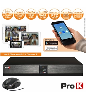 Vídeo-Gravador Digital 8 Canais Analog/Ahd/Ip Ethernet - DVR08VK
