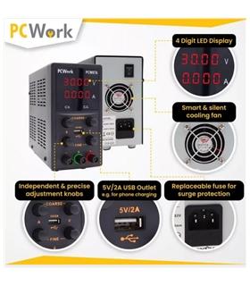 PCW07A - Fonte Alimentacao Bancada, 0-30V, 5A, USB #2 - PCW07A
